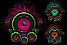 Speaker set design in dark background stock illustration
