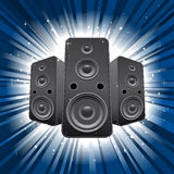 Speaker set with star burst background Royalty Free Stock Image