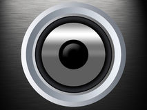 A speaker on a silber metal texture royalty free stock photography