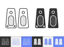 Speaker simple black line vector icon stock illustration