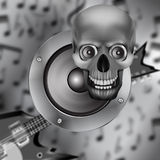 Speaker, skull and electric guitar Royalty Free Stock Images