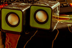 The speaker. The small speaker on table Royalty Free Stock Images