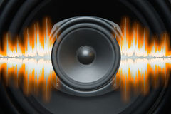 Speaker Sound Waves. Audio speaker with sound wave patterns pulsing from it Royalty Free Stock Image