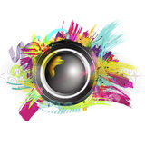 Speaker with splash and explosion shapes and colors Royalty Free Stock Photography
