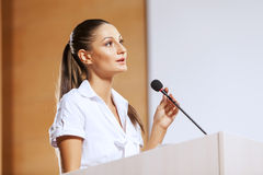 Speaker at stage Stock Image