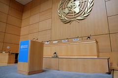 Speaker stand of United Nations. Speaker stand of The Assembly Hall, the largest room in the Palais des Nations of the  United Nations in Geneva, Switzerland Stock Images