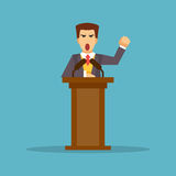 The speaker stands behind the podium. Vector illustration royalty free illustration