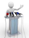 Speaker on a tribune. Mass media series; men at work series Stock Photo