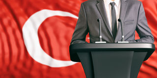 Speaker on Turkey flag background. 3d illustration Stock Photography