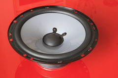 Speaker unit on red Stock Photo