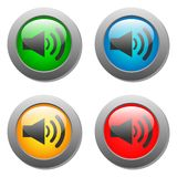 Speaker volume icon set on glass buttons Royalty Free Stock Photo
