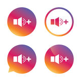 Speaker volume louder sign icon. Sound symbol. Gradient buttons with flat icon. Speech bubble sign. Vector Stock Images