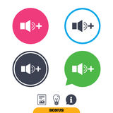Speaker volume louder sign icon. Sound symbol. Report document, information sign and light bulb icons. Vector Stock Photos