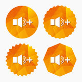 Speaker volume louder sign icon. Sound symbol. Triangular low poly buttons with flat icon. Vector Royalty Free Stock Photo