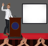 Speaker Waving Welcoming Stage Presentation Illustration Royalty Free Stock Images
