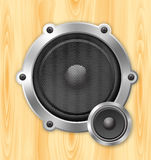 Speaker on wooden background Royalty Free Stock Photography