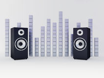 Speakers. Two sound speakers and curve balance on white Royalty Free Stock Images