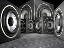 Speakers. An illustration of speakers in black and silver Royalty Free Stock Photos