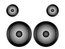 Speakers. Black plastic speakers on a white background Stock Image