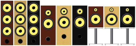 Speakers. Set of different types and colors of loudspeakers vector illustration
