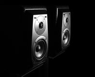 Speakers. Two hi-fi loudspeakers on the black background Royalty Free Stock Photography