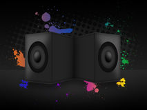 Speakers. With paint splatter and halftone Royalty Free Stock Photo