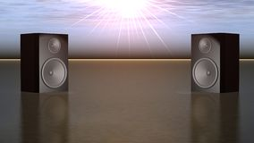 Speakers. Musical speakers located on a metal surface on a background of bright beams of the sun Stock Photos