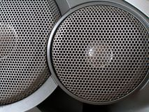 Speakers. Two metallic speakers of audio system close-up royalty free stock images