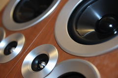 Speakers. Black hi-fi speakers in wooden boxes in perspective view Royalty Free Stock Photography