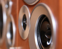 Speakers. Black hi-fi speakers in wooden boxes in perspective view Royalty Free Stock Image