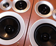 Speakers. Black hi-fi speakers in wooden boxes in perspective view Stock Image