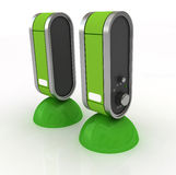 Speakers. Two green speakers to listen music Royalty Free Stock Photography