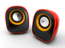 Speakers. Stylish red speakers on the white background (3d render&#x29 Stock Photos