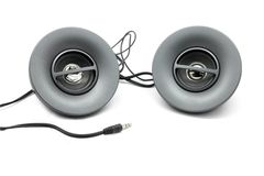 Speakers. Circular speaker set on an isolated white background stock photo