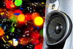 Speakers. Acoustic speaker and notes on a background of colored lights Stock Images
