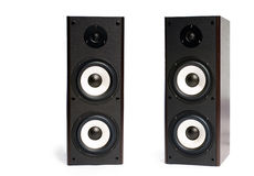 Speakers. Two black speakers on the white background stock images