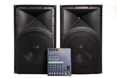 Free Speakers And Sound Mixer On White Stock Photos - 18557903