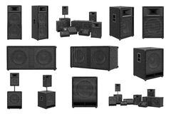 Speakers audio loud system set Stock Photography