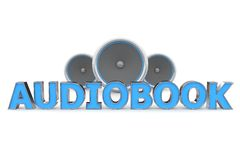 Speakers Audiobook - Blue. Word Audiobook with three speakers in background - blue style Royalty Free Stock Photos