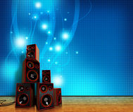 Speakers on blue Royalty Free Stock Photography