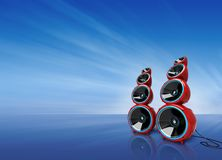 Speakers on blue Royalty Free Stock Photos