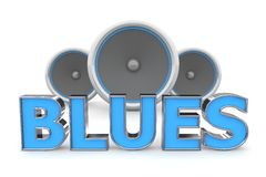 Speakers Blues - Blue. Word Blues with three speakers in background - blue style Stock Photos