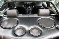 Speakers in the car. Large speakers in the interior of the vehicle Stock Photo