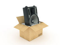 Speakers in cardboard box Royalty Free Stock Images