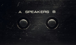 Speakers Control on an Old Amp. Details of an old amplifier, a and b sets of speakers buttons Royalty Free Stock Photography