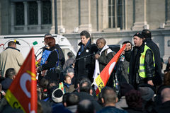 Speakers at French Worker Strike Stock Photo