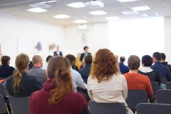 Audience in the conference hall. Royalty Free Stock Image