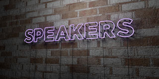 SPEAKERS - Glowing Neon Sign on stonework wall - 3D rendered royalty free stock illustration Royalty Free Stock Images
