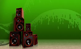 Speakers on green Stock Photo