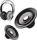 Speakers and headphones. Stock Photography